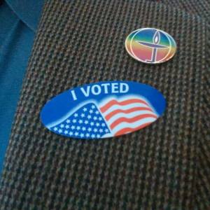"""I Voted"" sticker with flaming chalice pin"